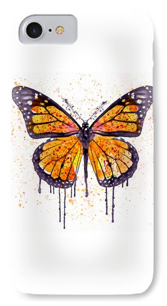 Monarch Butterfly Watercolor IPhone Case by Marian Voicu