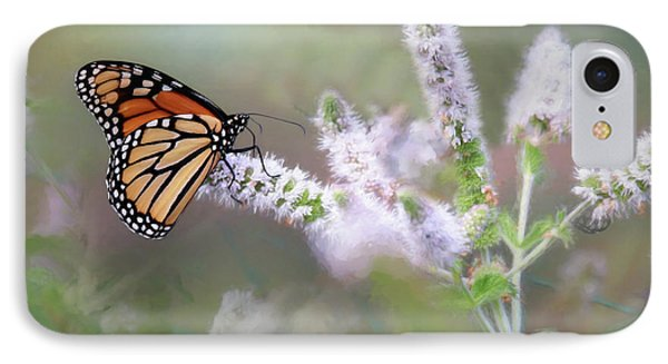 IPhone Case featuring the photograph Monarch On Mint 1 by Lori Deiter