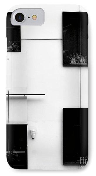 Mondrianic Fascade - Monochrome IPhone Case by James Aiken