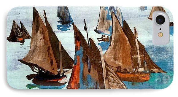 Monet Fishing Boats Calm Seas IPhone Case by Scott D Van Osdol
