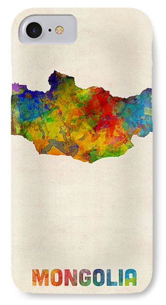 IPhone Case featuring the digital art Mongolia Watercolor Map by Michael Tompsett