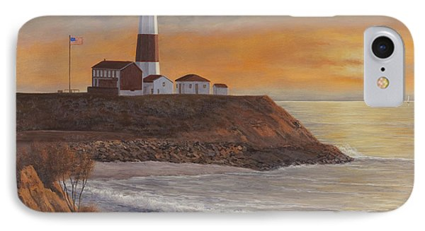 Monntauk Lighthouse Sunset Phone Case by Diane Romanello