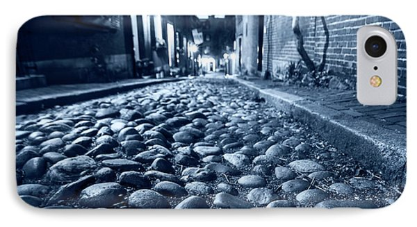 Monochrome Blue Acorn Street Cobblestone Detail Boston Ma IPhone Case by Toby McGuire