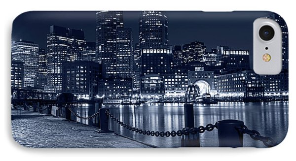 Monochrome Blue Boston Waterfront Boston Skyline Boston Ma IPhone Case by Toby McGuire