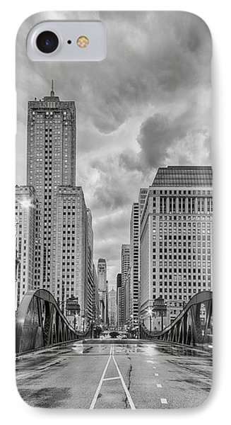Monochrome Image Of The Marshall Suloway And Lasalle Street Canyon Over Chicago River - Illinois IPhone 7 Case by Silvio Ligutti