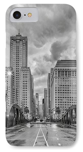 Monochrome Image Of The Marshall Suloway And Lasalle Street Canyon Over Chicago River - Illinois IPhone Case by Silvio Ligutti