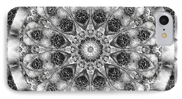IPhone Case featuring the digital art Monochrome Kaleidoscope by Charmaine Zoe