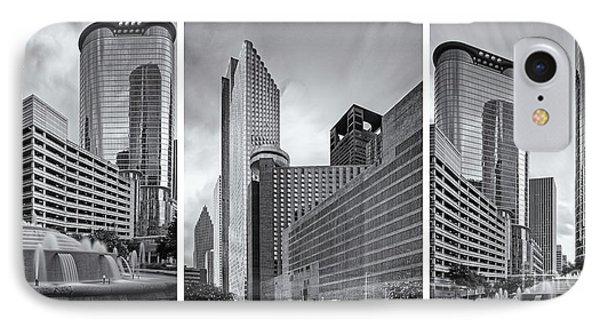 Monochrome Triptych Of Downtown Houston Buildings - Harris County Texas IPhone Case by Silvio Ligutti