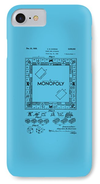 Monopoly Original Patent Art Drawing T-shirt IPhone Case by Edward Fielding