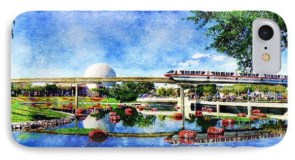 IPhone Case featuring the digital art Monorail Red - Coming 'round The Bend by Sandy MacGowan