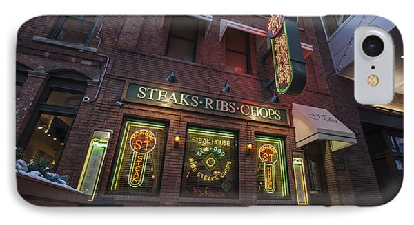IPhone Case featuring the photograph Monroe St Steakhouse by Nicholas Grunas