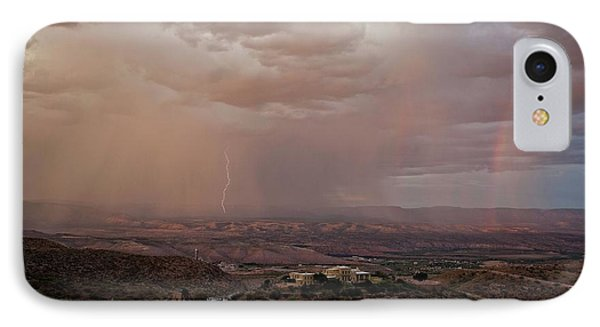 IPhone Case featuring the photograph Monsoon Lightning And Rainbow by Ron Chilston