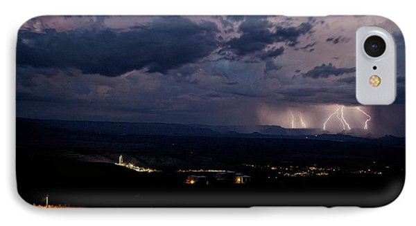 IPhone Case featuring the photograph Monsoon Lightning Over Sedona From Jerome Az by Ron Chilston