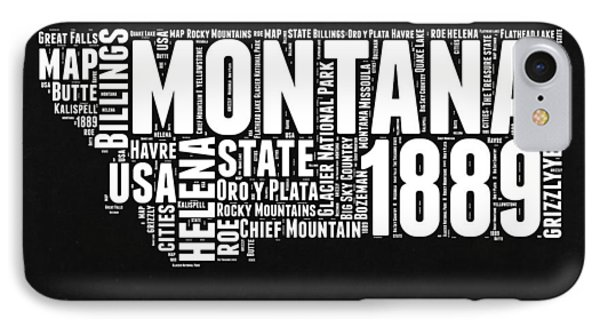 Montana Black And White Map IPhone Case by Naxart Studio