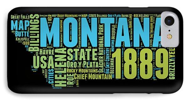 Montana Word Cloud 1 IPhone Case by Naxart Studio