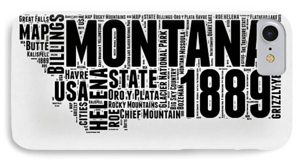 Montana Word Cloud 2 IPhone Case by Naxart Studio