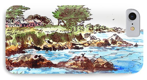 IPhone 7 Case featuring the painting Monterey Shore by Irina Sztukowski