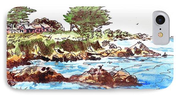 IPhone Case featuring the painting Monterey Shore by Irina Sztukowski