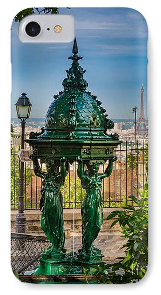 Montmartre Wallace Fountain Phone Case by Inge Johnsson