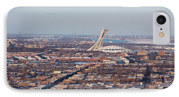 Montreal Cityscape With Olympic Stadium IPhone Case by Jane Rix
