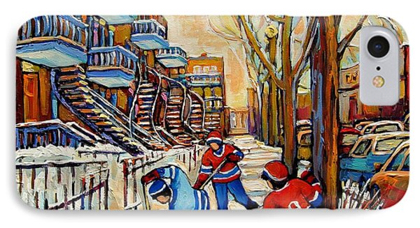Montreal Hockey Game With 3 Boys IPhone Case by Carole Spandau