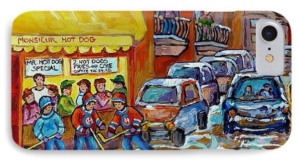 Montreal Hockey Scene Near Monsieur Hot Dog Vintage Restaurant Canadian Art Carole Spandau           IPhone Case by Carole Spandau