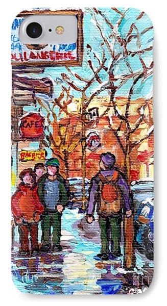Montreal Landmark Marquee St Viateur Bagel Sign Snowy Winter Walk Canadian Artist Carole Spandau     IPhone Case by Carole Spandau