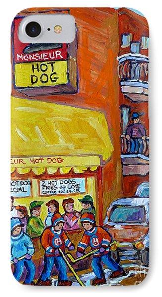 Montreal Memories Favorite Hot Dog Diner Mr Hot Dog Canadian Winter Scene Hockey Art Carole Spandau  IPhone Case by Carole Spandau