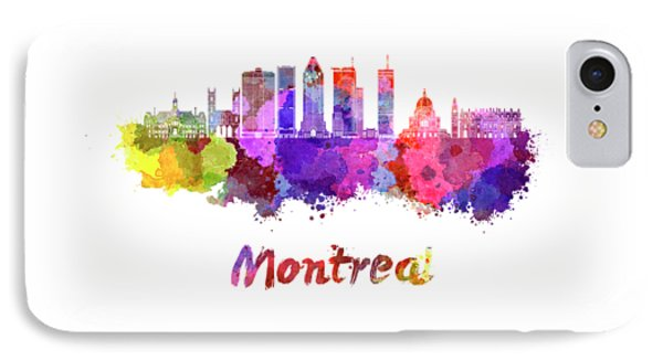 Montreal Skyline In Watercolor Splatters IPhone Case by Pablo Romero