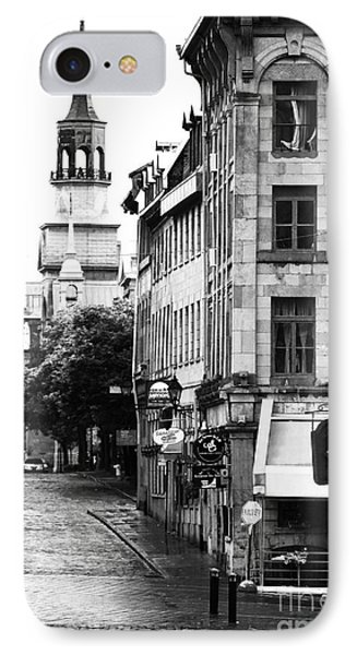 Montreal Street In Black And White Phone Case by John Rizzuto