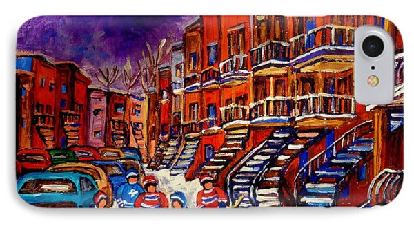 Montreal Street Scene Paintings Hockey On De Bullion Street   Phone Case by Carole Spandau