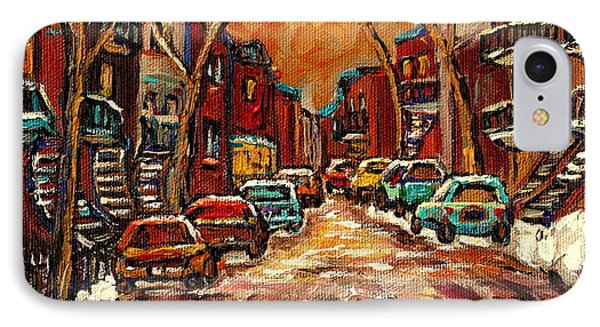 Montreal Streets In Winter IPhone Case