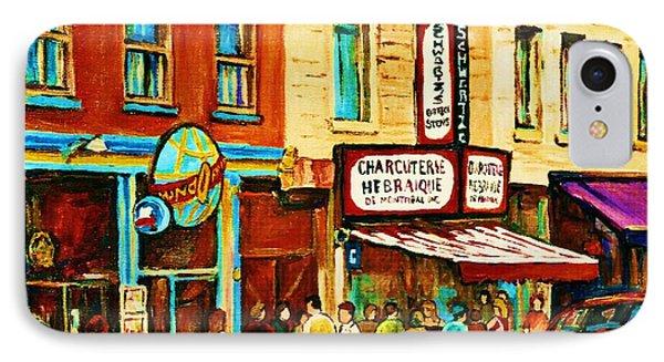 Montreal Streetscene Artist Carole Spandau Paints Schwartzs Main Street Hustle Bustle Phone Case by Carole Spandau