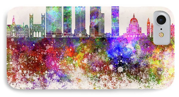 Montreal V2 Skyline In Watercolor Background IPhone Case by Pablo Romero