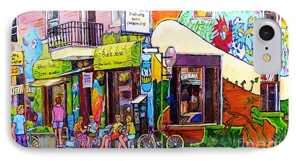 Montreal Wall Mural Art Chez Jose Sandwich Shop Paris Style Sidewalk Cafe Carole Spandau IPhone Case by Carole Spandau