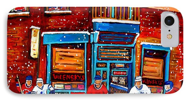 Montreal Wilensky Deli By Carole Spandau Montreal Streetscene And Hockey Artist Phone Case by Carole Spandau