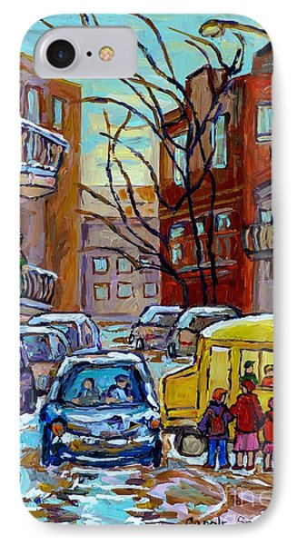 Montreal Winter City Scene With Yellow School Bus Canadian Painting Carole Spandau                   IPhone Case by Carole Spandau