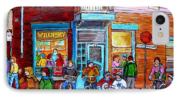 Montreal Winter Scene Bicycles And Hockey At Wilensky's Lunch Counter Canadian Art Carole Spandau IPhone Case by Carole Spandau