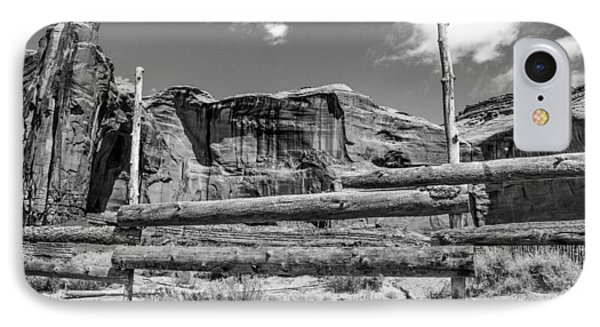 IPhone Case featuring the photograph Fence In Monument Valley - Bw by Dany Lison
