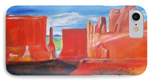 IPhone Case featuring the painting Monument Valley  by Eric  Schiabor