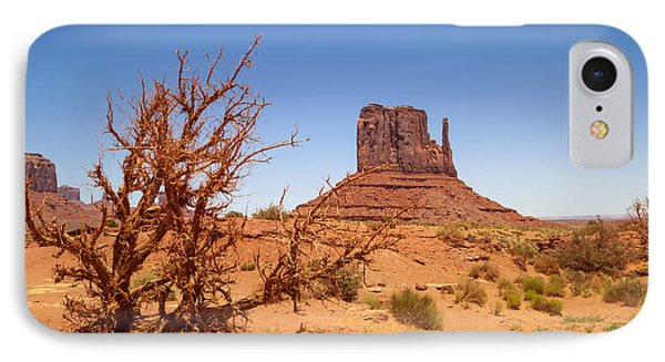Monument Valley West Mitten Butte And Landscape IPhone Case by Melanie Viola