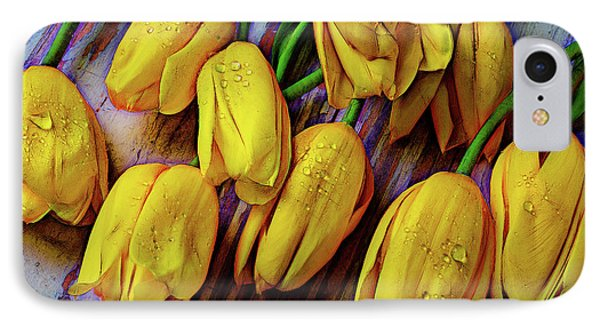 Moody Graphic Tulips IPhone Case by Garry Gay