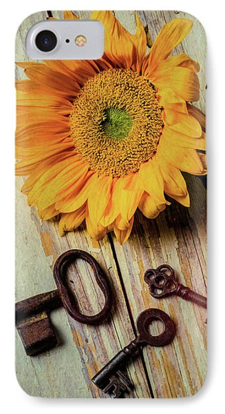 Moody Sunflower With Keys IPhone Case by Garry Gay