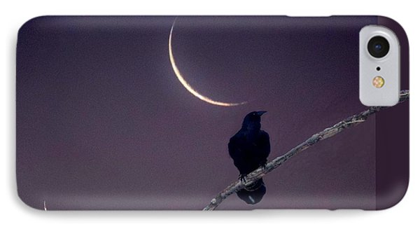 IPhone Case featuring the photograph Moon And Raven Abstract by Deborah Moen