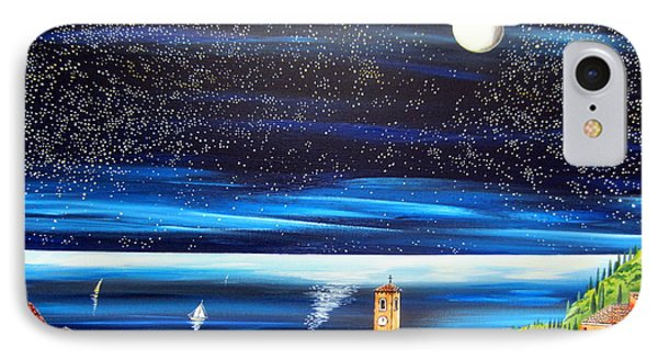 Moon And Stars Over The Village  IPhone Case
