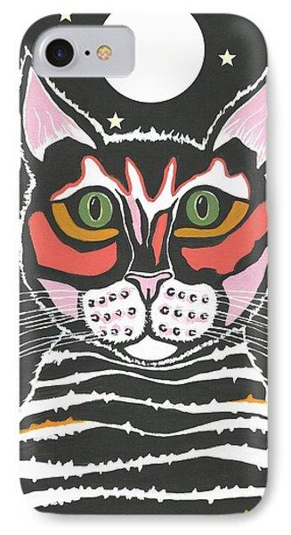 Moon Cat IPhone Case by Kathleen Sartoris