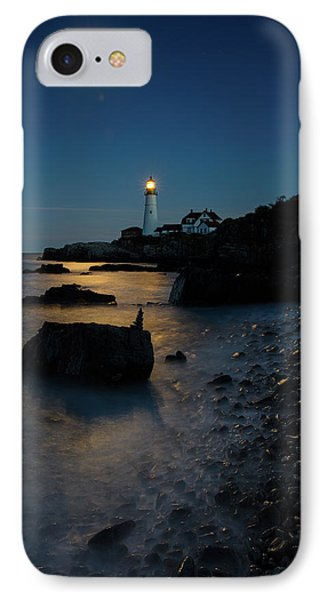 IPhone Case featuring the photograph Moon Light Over The Lighthouse  by Emmanuel Panagiotakis