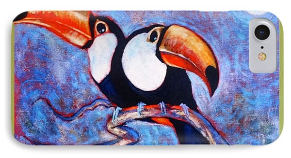 Moon Light Toucans Two IPhone Case by Charles Munn