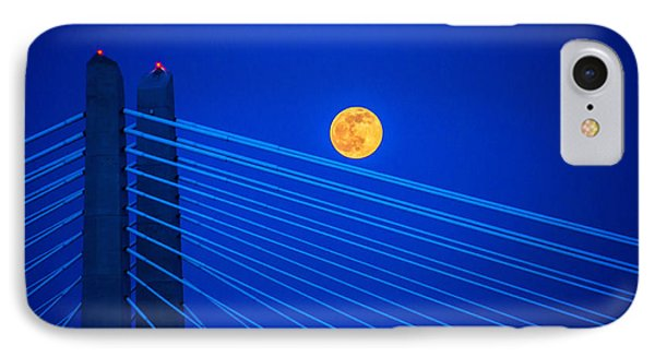 Moon Over A Bridge IPhone Case by Jerry Cahill