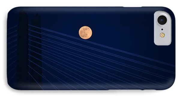 Moon Over Bridge IPhone Case by Jerry Cahill